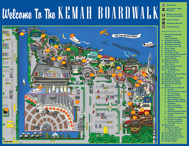 Map with information about the Kemah Boardwalk